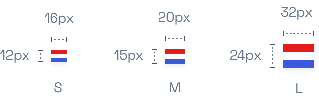 Example with small, medium and large flag sizes.